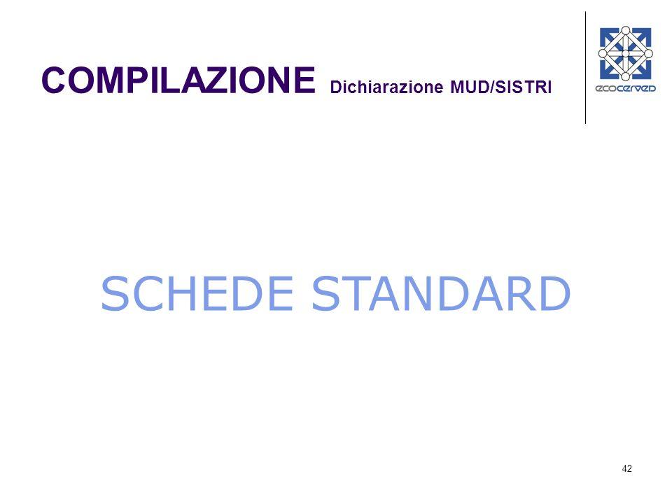 42 SCHEDE STANDARD COMPILAZIONE Dichiarazione MUD/SISTRI