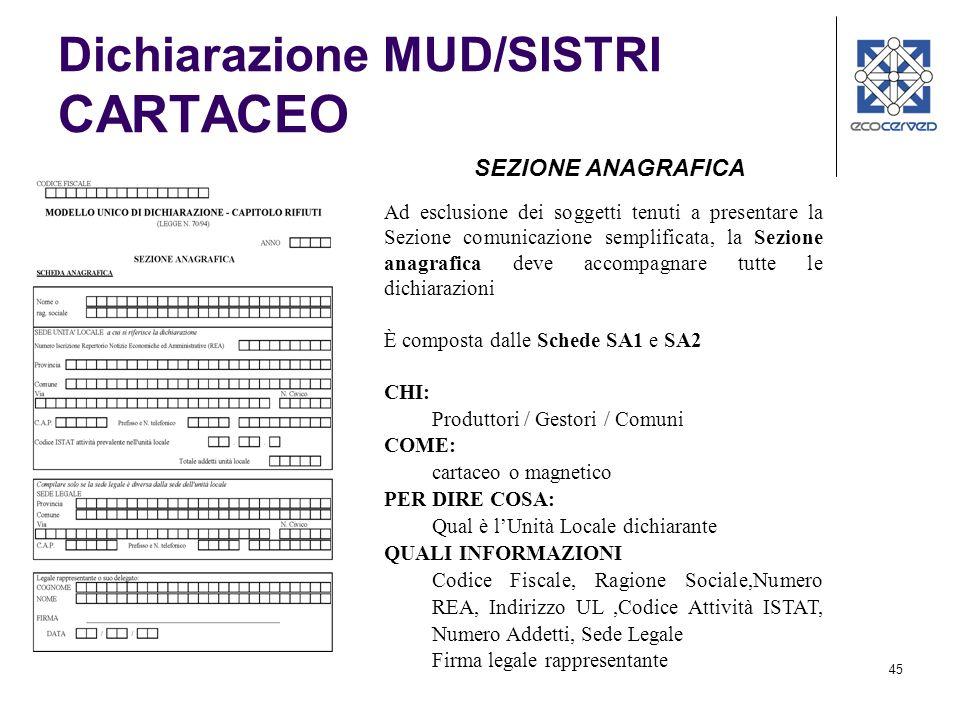 45 Dichiarazione MUD/SISTRI CARTACEO Ad esclusione dei soggetti tenuti a presentare la Sezione comunicazione semplificata, la Sezione anagrafica deve