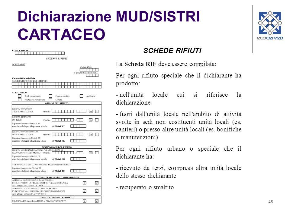 46 Dichiarazione MUD/SISTRI CARTACEO SCHEDE RIFIUTI La Scheda RIF deve essere compilata: Per ogni rifiuto speciale che il dichiarante ha prodotto: - n
