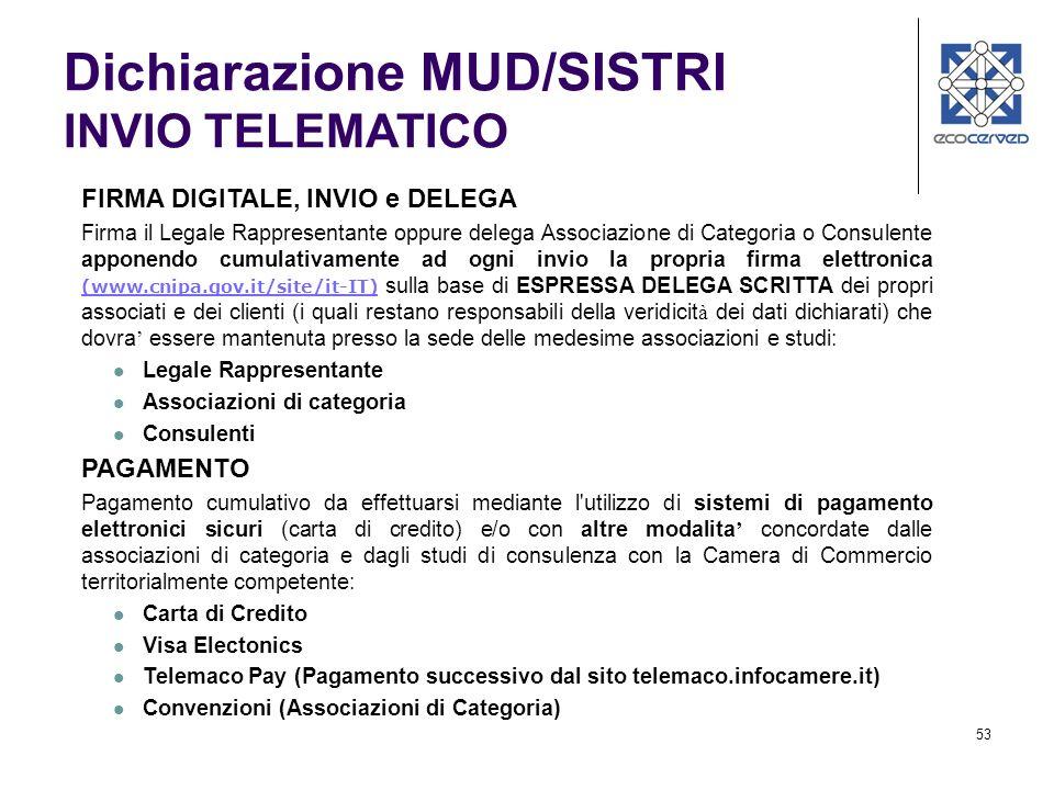 53 Dichiarazione MUD/SISTRI INVIO TELEMATICO FIRMA DIGITALE, INVIO e DELEGA Firma il Legale Rappresentante oppure delega Associazione di Categoria o C