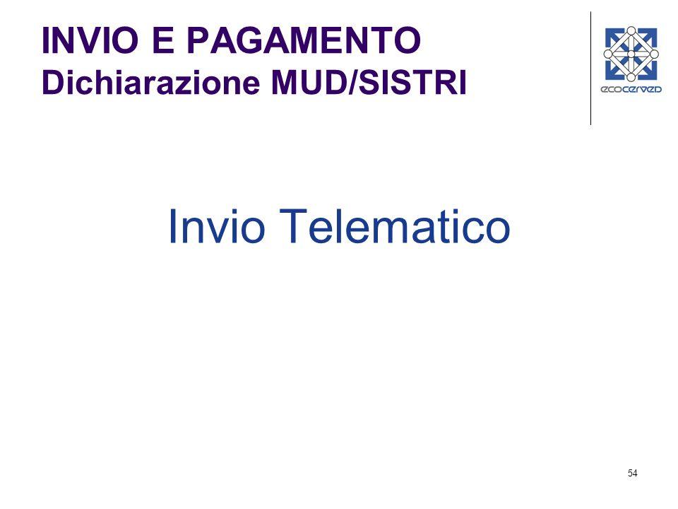 54 INVIO E PAGAMENTO Dichiarazione MUD/SISTRI Invio Telematico