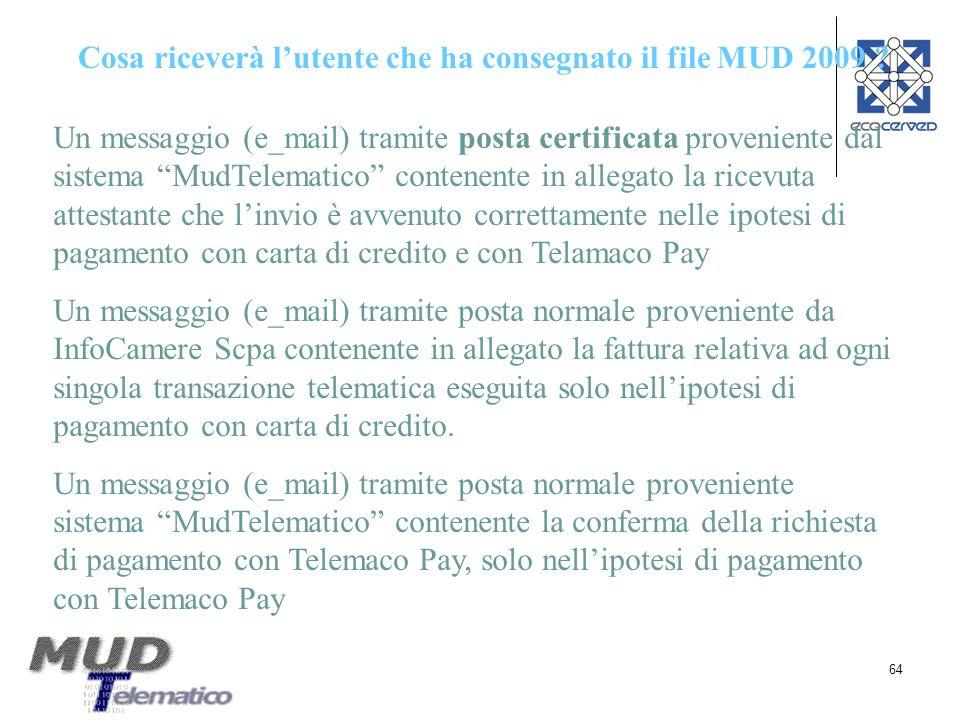 64 Cosa riceverà lutente che ha consegnato il file MUD 2009 ? Un messaggio (e_mail) tramite posta certificata proveniente dal sistema MudTelematico co