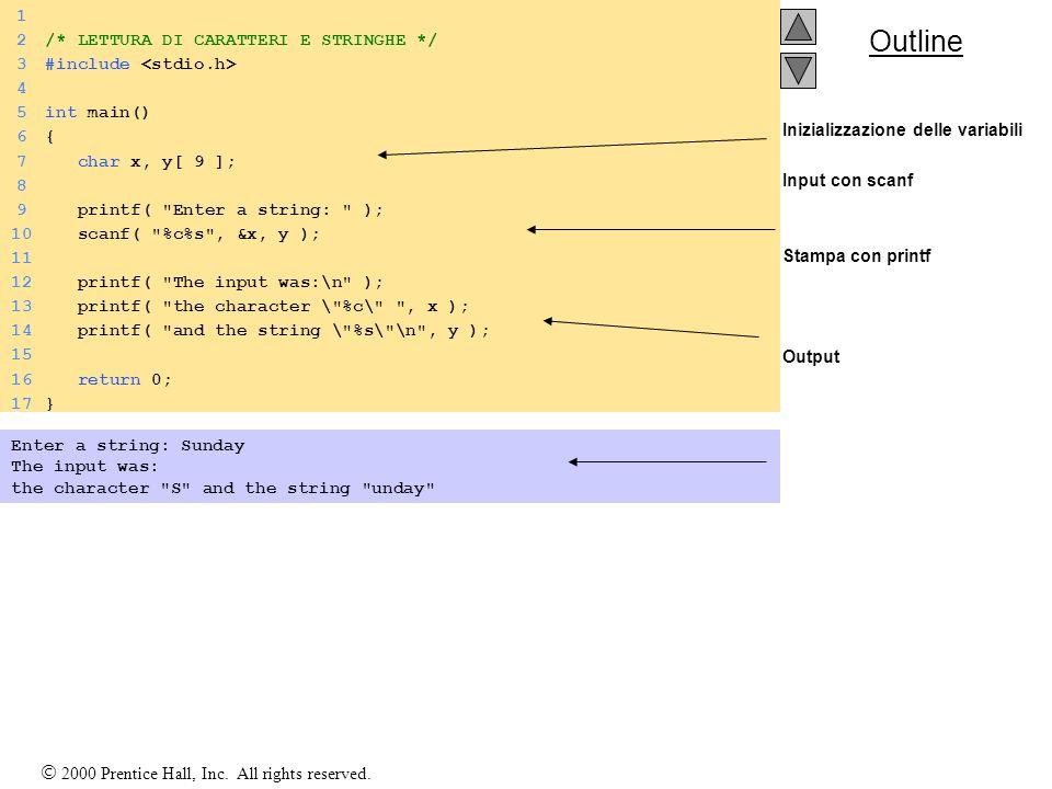 Outline Inizializzazione delle variabili Input con scanf Stampa con printf Output 1 2/* LETTURA DI CARATTERI E STRINGHE */ 3#include 4 5int main() 6{6