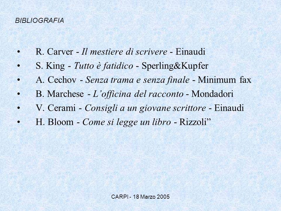 CARPI - 18 Marzo 2005 R. Carver - Il mestiere di scrivere - Einaudi S. King - Tutto è fatidico - Sperling&Kupfer A. Cechov - Senza trama e senza final