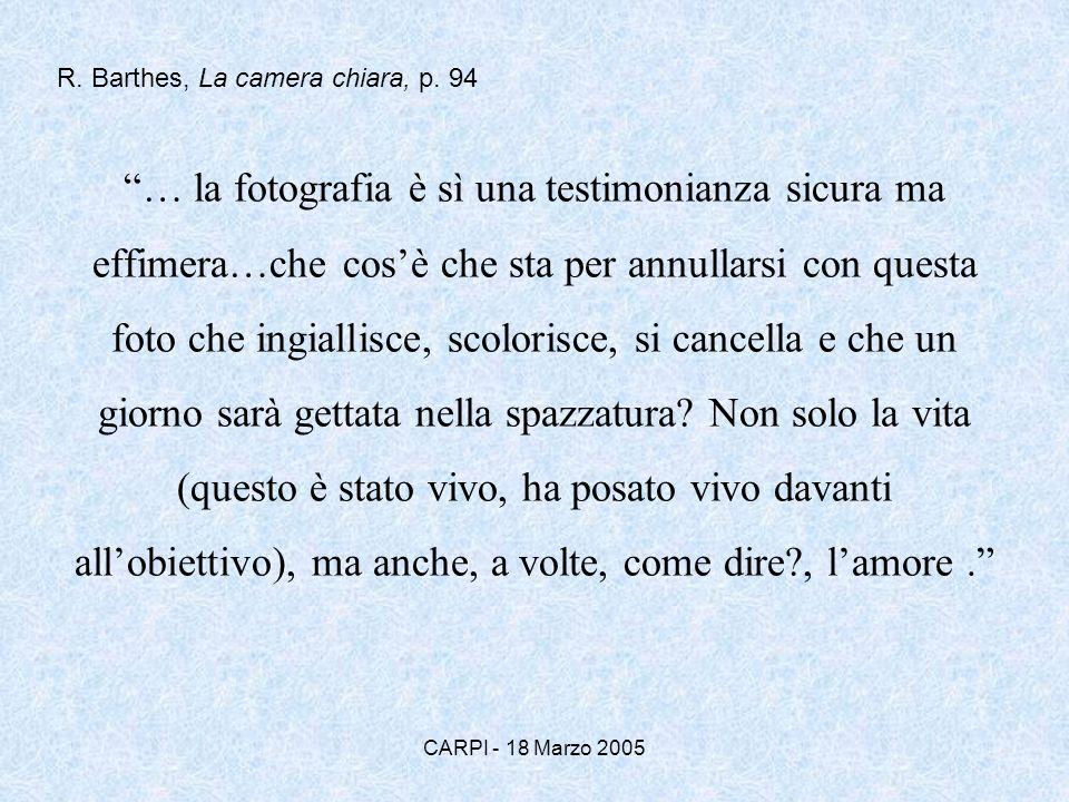 CARPI - 18 Marzo 2005 … la fotografia è sì una testimonianza sicura ma effimera…che cosè che sta per annullarsi con questa foto che ingiallisce, scolo