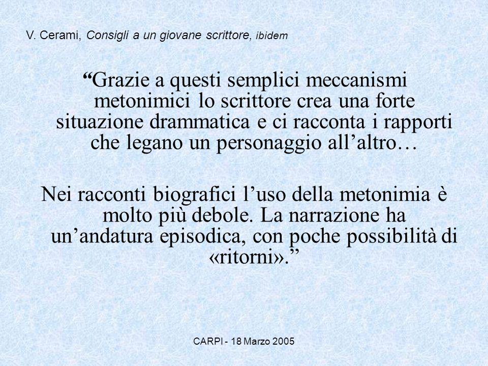 CARPI - 18 Marzo 2005 Grazie a questi semplici meccanismi metonimici lo scrittore crea una forte situazione drammatica e ci racconta i rapporti che le