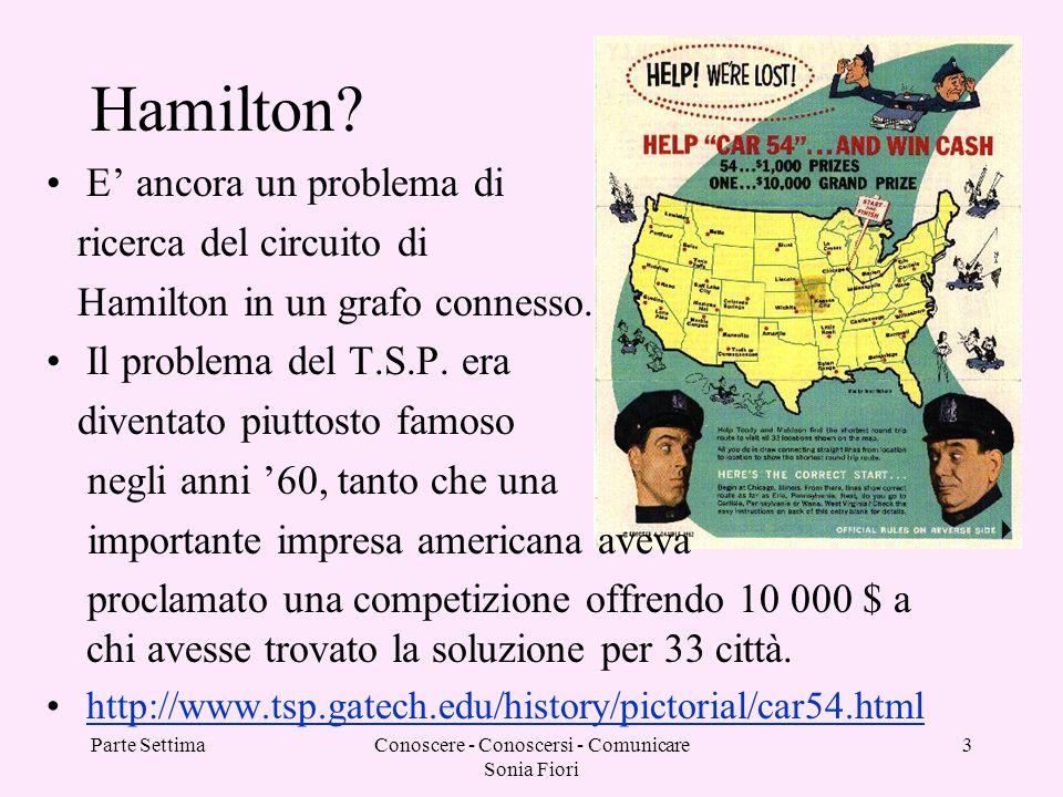 Parte SettimaConoscere - Conoscersi - Comunicare Sonia Fiori 3 Hamilton? E ancora un problema di ricerca del circuito di Hamilton in un grafo connesso