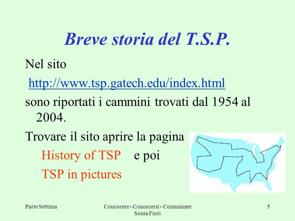Parte SettimaConoscere - Conoscersi - Comunicare Sonia Fiori 5 Breve storia del T.S.P. Nel sito http://www.tsp.gatech.edu/index.html sono riportati i