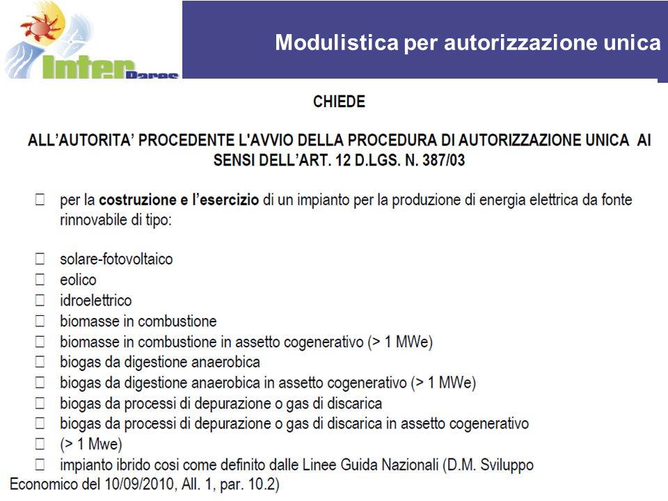 REPORT OF THE ACTIVITIES OF UPI Modulistica per autorizzazione unica 10