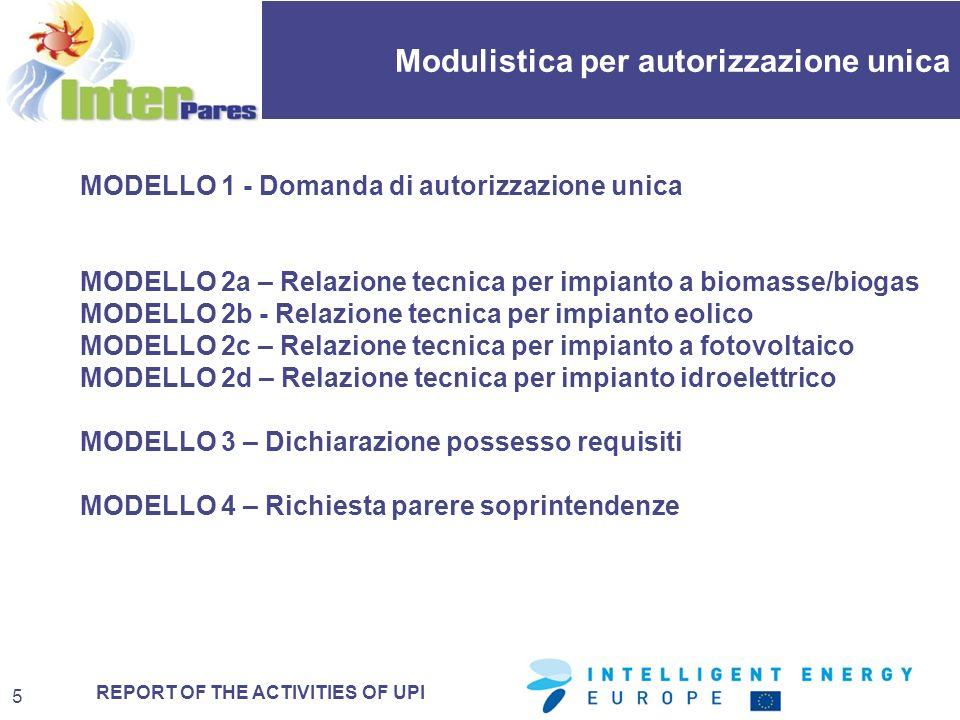 REPORT OF THE ACTIVITIES OF UPI Modulistica per autorizzazione unica 16