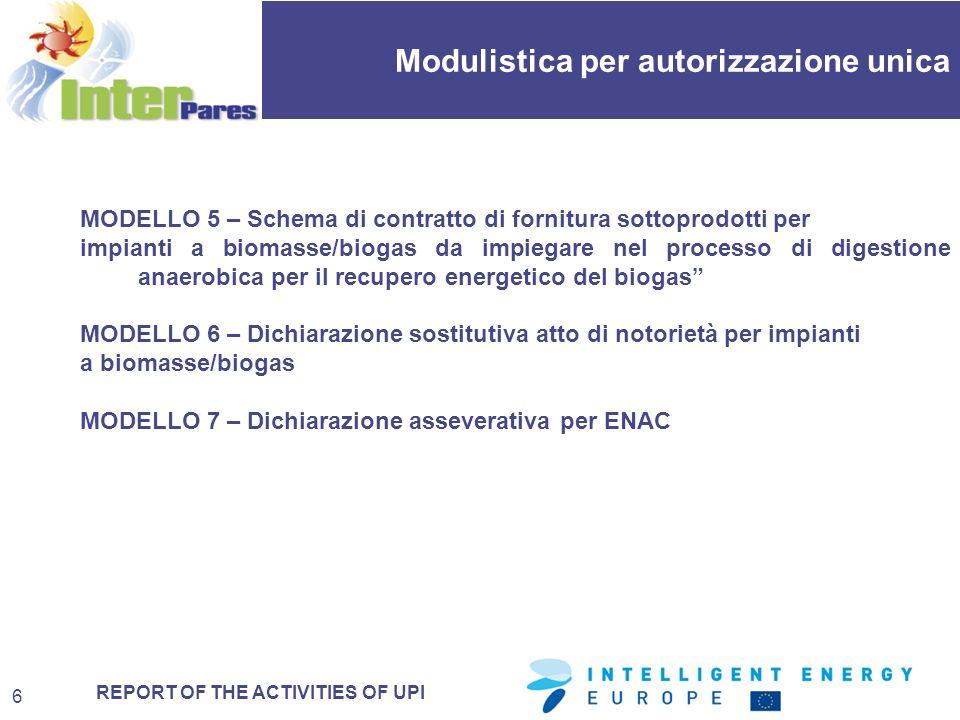 REPORT OF THE ACTIVITIES OF UPI MODELLO 5 – Schema di contratto di fornitura sottoprodotti per impianti a biomasse/biogas da impiegare nel processo di digestione anaerobica per il recupero energetico del biogas MODELLO 6 – Dichiarazione sostitutiva atto di notorietà per impianti a biomasse/biogas MODELLO 7 – Dichiarazione asseverativa per ENAC Modulistica per autorizzazione unica 6