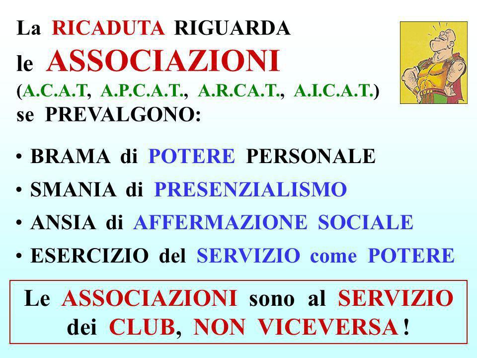 BRAMA di POTERE PERSONALE SMANIA di PRESENZIALISMO ANSIA di AFFERMAZIONE SOCIALE ESERCIZIO del SERVIZIO come POTERE La RICADUTA RIGUARDA le ASSOCIAZIO