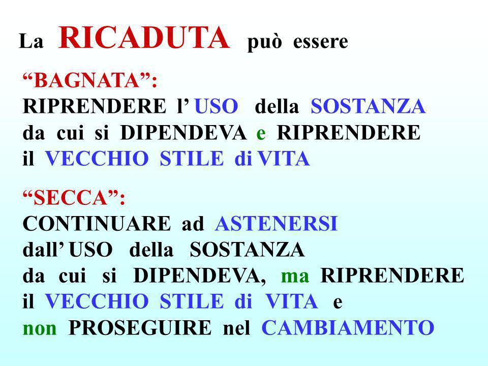 La RICADUTA può essere BAGNATA: RIPRENDERE l USO della SOSTANZA da cui si DIPENDEVA e RIPRENDERE il VECCHIO STILE di VITA SECCA: CONTINUARE ad ASTENER