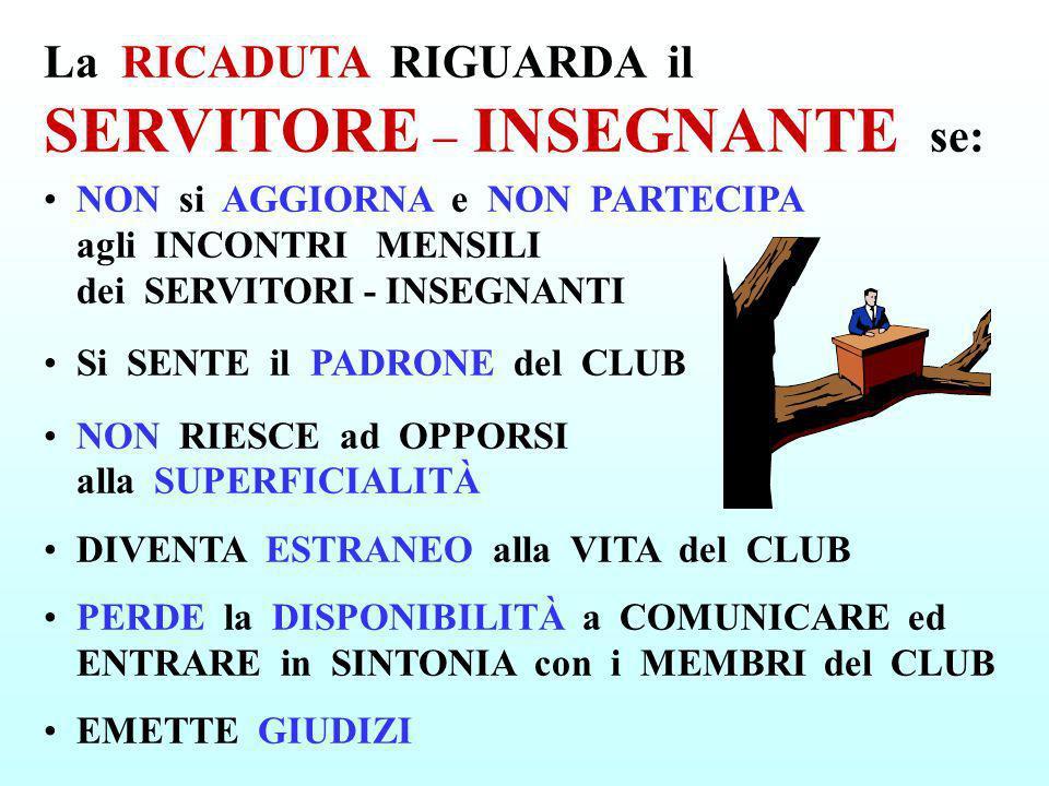 NON si AGGIORNA e NON PARTECIPA agli INCONTRI MENSILI dei SERVITORI - INSEGNANTI Si SENTE il PADRONE del CLUB NON RIESCE ad OPPORSI alla SUPERFICIALIT