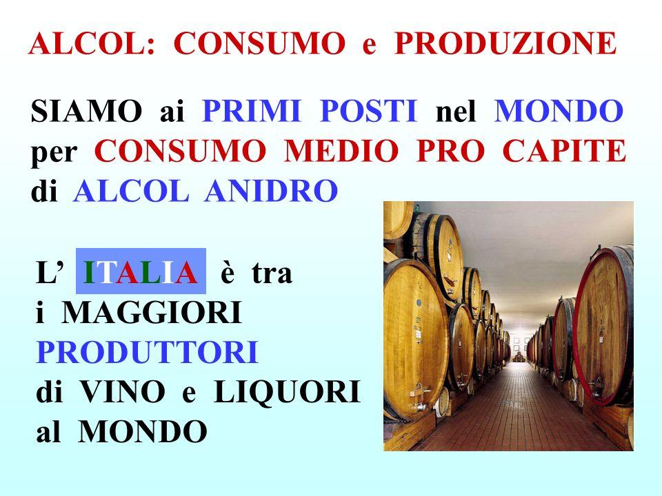 ALCOL: CONSUMO e PRODUZIONE L è tra i MAGGIORI PRODUTTORI di VINO e LIQUORI al MONDO ITALIAITALIA SIAMO ai PRIMI POSTI nel MONDO per CONSUMO MEDIO PRO CAPITE di ALCOL ANIDRO