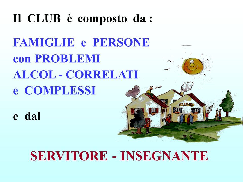 Il CLUB è composto da : FAMIGLIE e PERSONE con PROBLEMI ALCOL - CORRELATI e COMPLESSI e dal SERVITORE - INSEGNANTE
