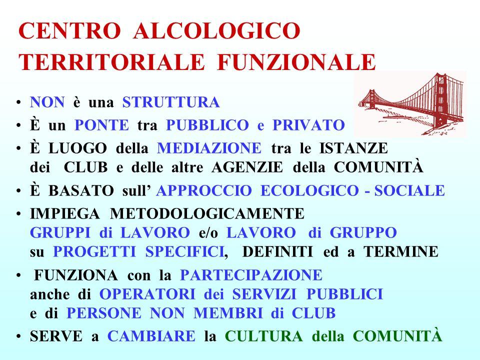 CENTRO ALCOLOGICO TERRITORIALE FUNZIONALE NON è una STRUTTURA È un PONTE tra PUBBLICO e PRIVATO È LUOGO della MEDIAZIONE tra le ISTANZE dei CLUB e del