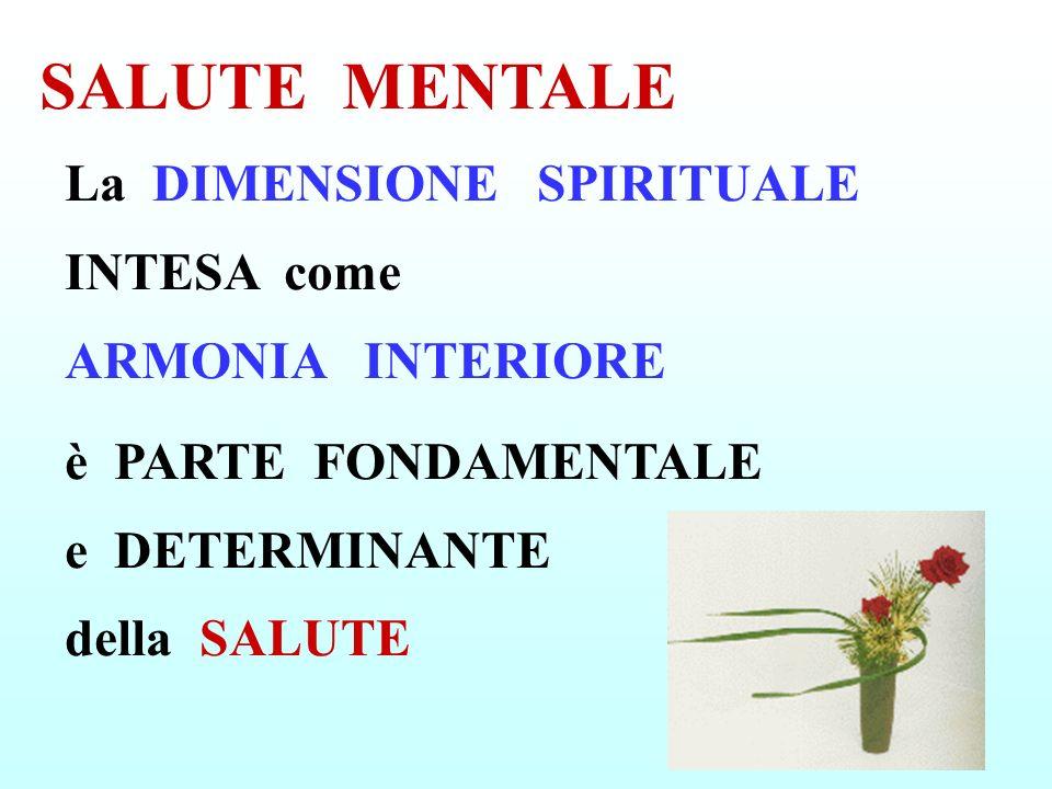 La DIMENSIONE SPIRITUALE INTESA come ARMONIA INTERIORE è PARTE FONDAMENTALE e DETERMINANTE della SALUTE SALUTE MENTALE