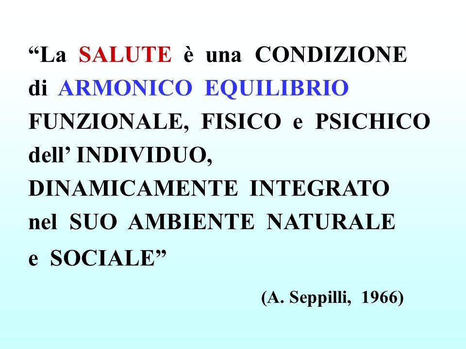 La SALUTE è una CONDIZIONE di ARMONICO EQUILIBRIO FUNZIONALE, FISICO e PSICHICO dell INDIVIDUO, DINAMICAMENTE INTEGRATO nel SUO AMBIENTE NATURALE e SOCIALE (A.