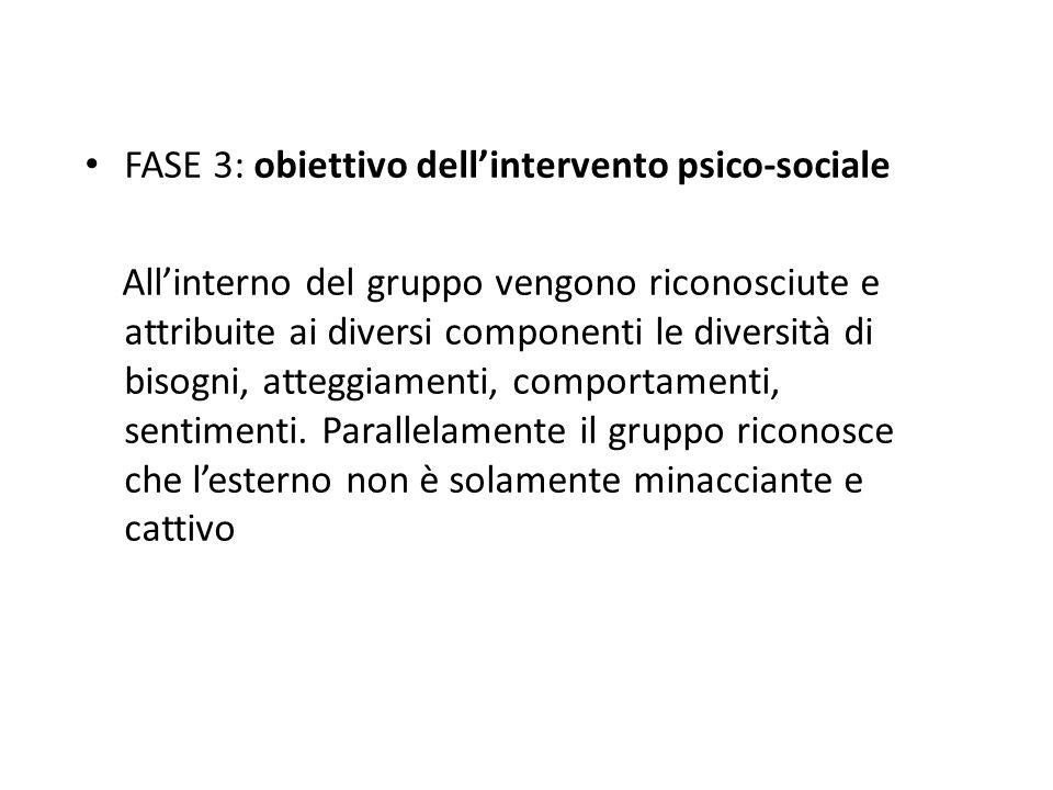 FASE 3: obiettivo dellintervento psico-sociale Allinterno del gruppo vengono riconosciute e attribuite ai diversi componenti le diversità di bisogni, atteggiamenti, comportamenti, sentimenti.