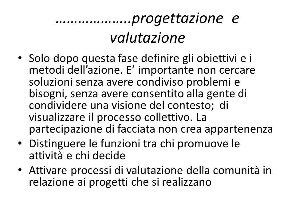 ………………..progettazione e valutazione Solo dopo questa fase definire gli obiettivi e i metodi dellazione.