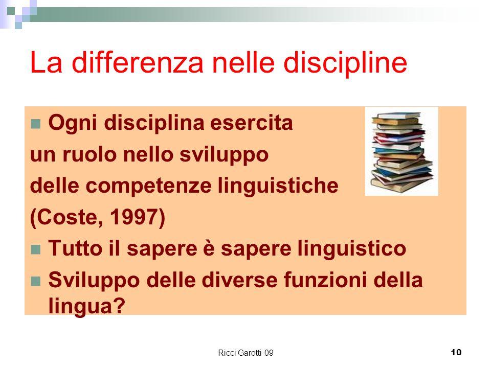 Ricci Garotti 0910 La differenza nelle discipline Ogni disciplina esercita un ruolo nello sviluppo delle competenze linguistiche (Coste, 1997) Tutto i