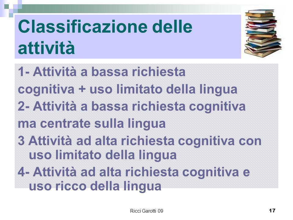 Ricci Garotti 0917 Classificazione delle attività 1- Attività a bassa richiesta cognitiva + uso limitato della lingua 2- Attività a bassa richiesta co