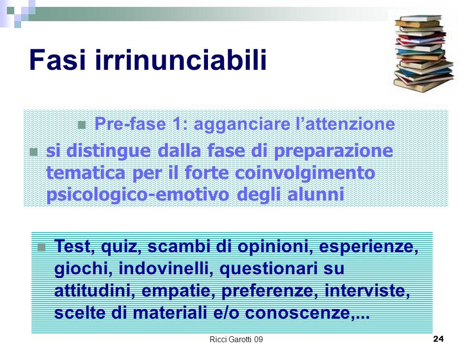 Ricci Garotti 0924 Fasi irrinunciabili Pre-fase 1: agganciare lattenzione si distingue dalla fase di preparazione tematica per il forte coinvolgimento