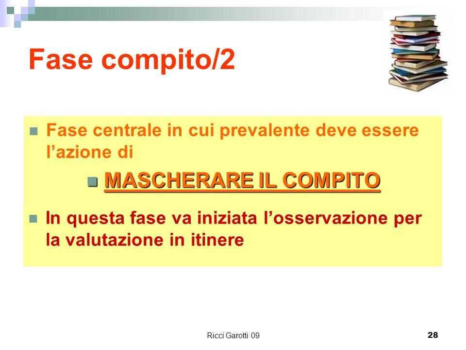 Ricci Garotti 0928 Fase compito/2 In questa fase va iniziata losservazione per la valutazione in itinere Fase centrale in cui prevalente deve essere l