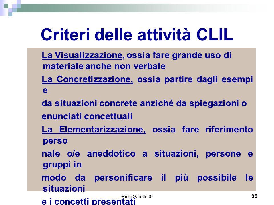 Ricci Garotti 0933 Criteri delle attività CLIL La Visualizzazione, ossia fare grande uso di materiale anche non verbale La Concretizzazione, ossia par