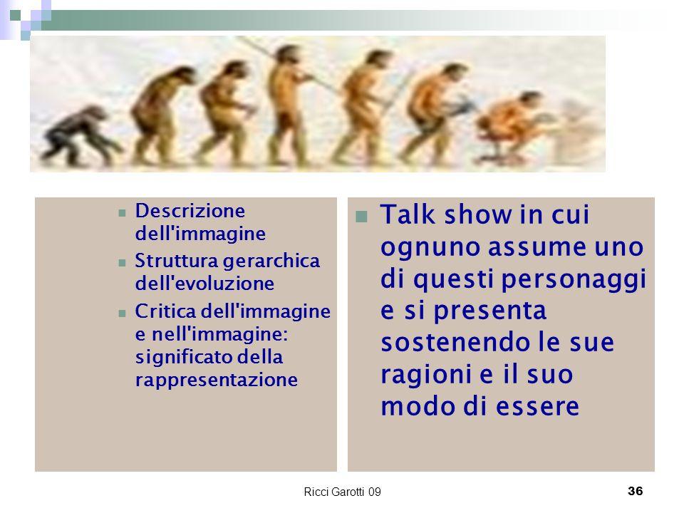 Ricci Garotti 0936 Descrizione dell'immagine Struttura gerarchica dell'evoluzione Critica dell'immagine e nell'immagine: significato della rappresenta