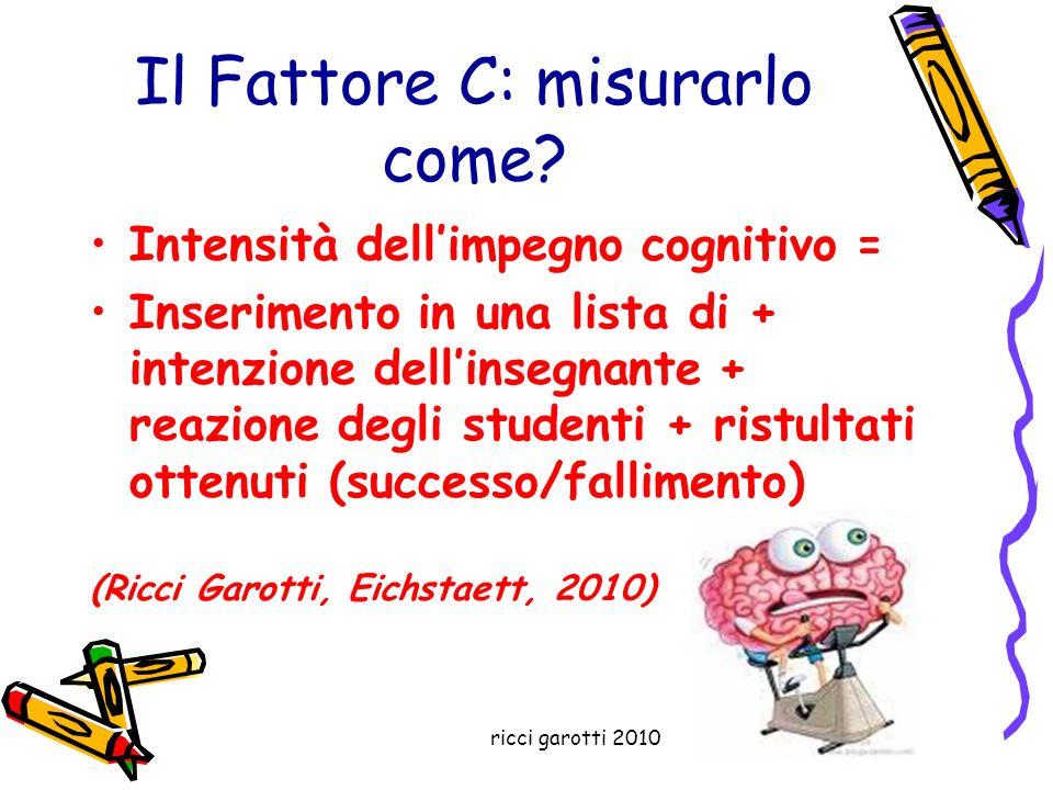 ricci garotti 2010 Il Fattore C: misurarlo come? Intensità dellimpegno cognitivo = Inserimento in una lista di + intenzione dellinsegnante + reazione