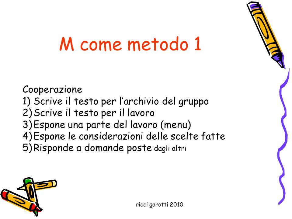 ricci garotti 2010 M come metodo 1 Cooperazione 1)Scrive il testo per larchivio del gruppo 2)Scrive il testo per il lavoro 3)Espone una parte del lavo