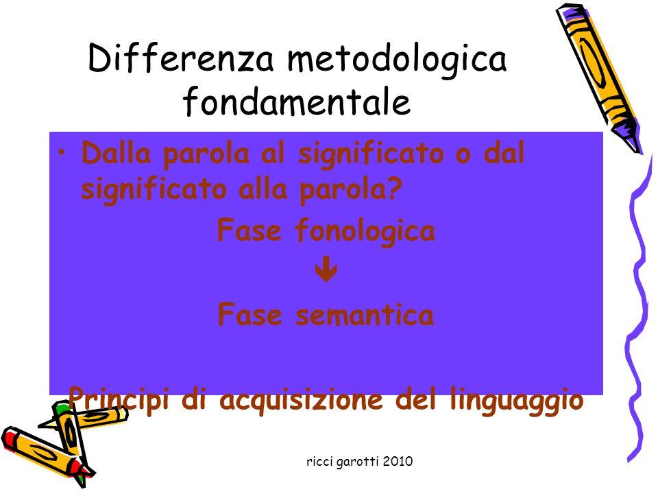 ricci garotti 2010 Differenza metodologica fondamentale Dalla parola al significato o dal significato alla parola? Fase fonologica Fase semantica Prin