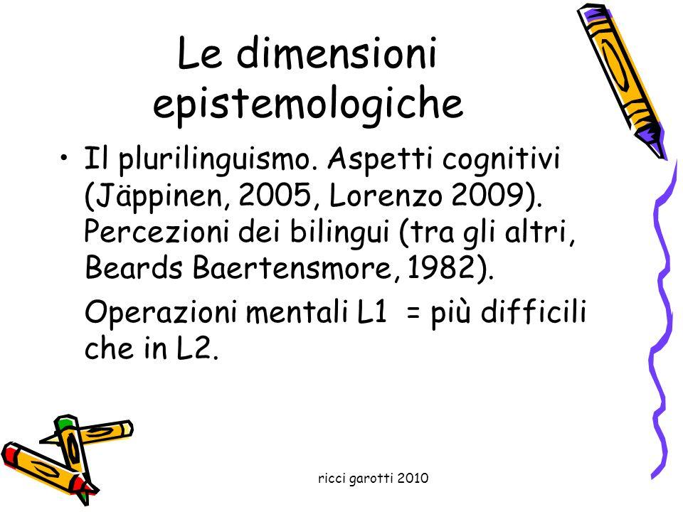 ricci garotti 2010 Le dimensioni epistemologiche Il plurilinguismo. Aspetti cognitivi (Jäppinen, 2005, Lorenzo 2009). Percezioni dei bilingui (tra gli