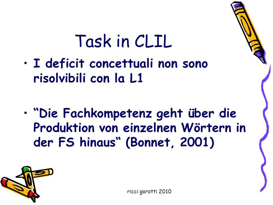 ricci garotti 2010 Task in CLIL I deficit concettuali non sono risolvibili con la L1 Die Fachkompetenz geht über die Produktion von einzelnen Wörtern