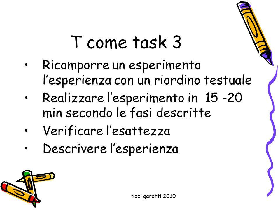 ricci garotti 2010 T come task 3 Ricomporre un esperimento lesperienza con un riordino testuale Realizzare lesperimento in 15 -20 min secondo le fasi
