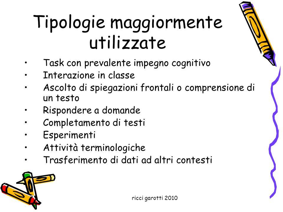 ricci garotti 2010 Tipologie maggiormente utilizzate Task con prevalente impegno cognitivo Interazione in classe Ascolto di spiegazioni frontali o com