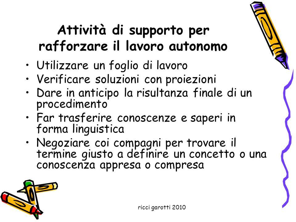 ricci garotti 2010 Attività di supporto per rafforzare il lavoro autonomo Utilizzare un foglio di lavoro Verificare soluzioni con proiezioni Dare in a