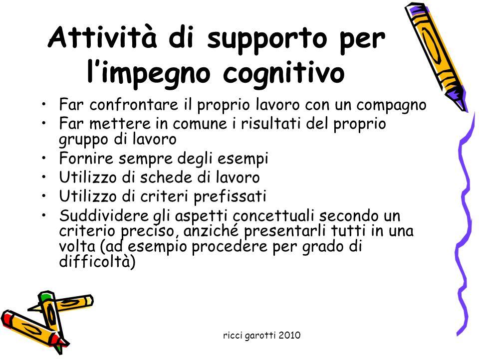 ricci garotti 2010 Attività di supporto per limpegno cognitivo Far confrontare il proprio lavoro con un compagno Far mettere in comune i risultati del