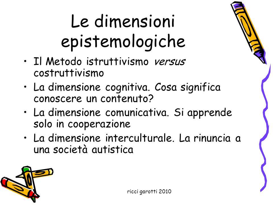 ricci garotti 2010 Le dimensioni epistemologiche Il Metodo istruttivismo versus costruttivismo La dimensione cognitiva. Cosa significa conoscere un co