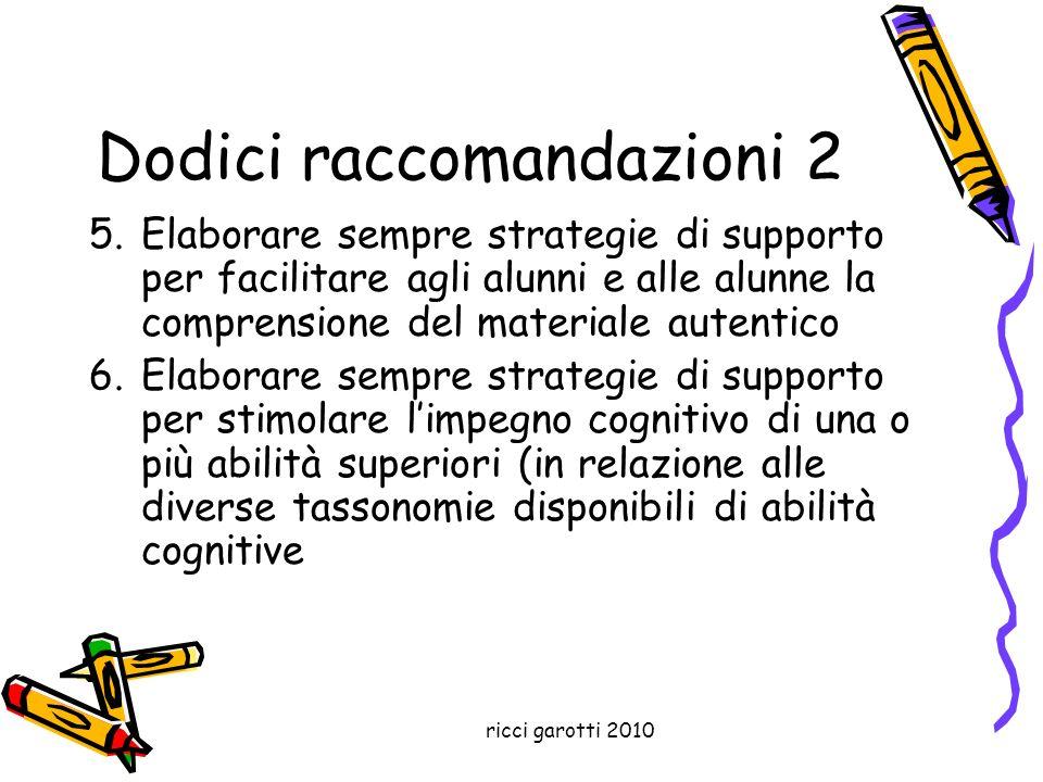 ricci garotti 2010 Dodici raccomandazioni 2 5.Elaborare sempre strategie di supporto per facilitare agli alunni e alle alunne la comprensione del mate