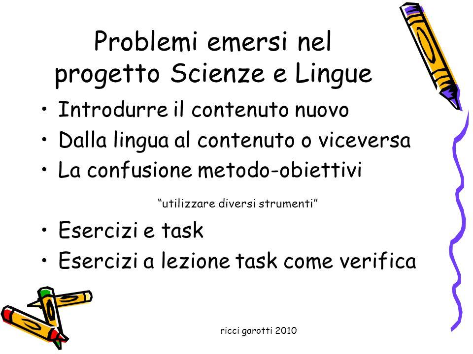 ricci garotti 2010 Problemi emersi nel progetto Scienze e Lingue Introdurre il contenuto nuovo Dalla lingua al contenuto o viceversa La confusione met