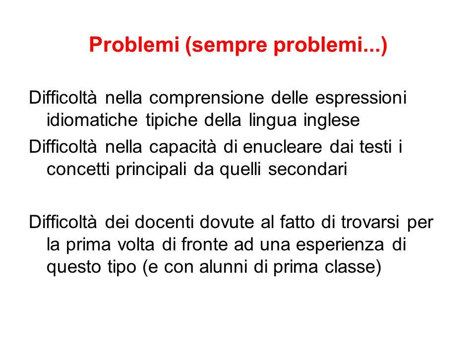 Problemi (sempre problemi...) Difficoltà nella comprensione delle espressioni idiomatiche tipiche della lingua inglese Difficoltà nella capacità di en