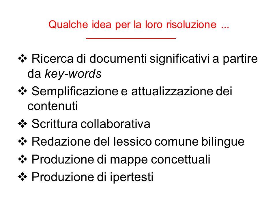 Qualche idea per la loro risoluzione... Ricerca di documenti significativi a partire da key-words Semplificazione e attualizzazione dei contenuti Scri