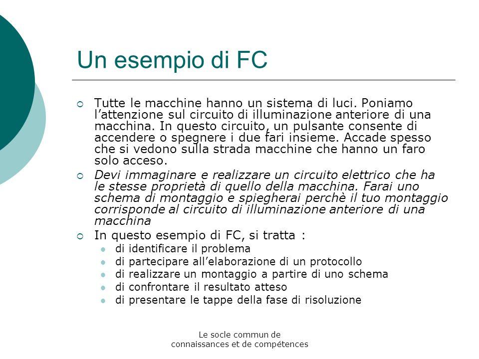 Le socle commun de connaissances et de compétences Un esempio di FC Tutte le macchine hanno un sistema di luci.