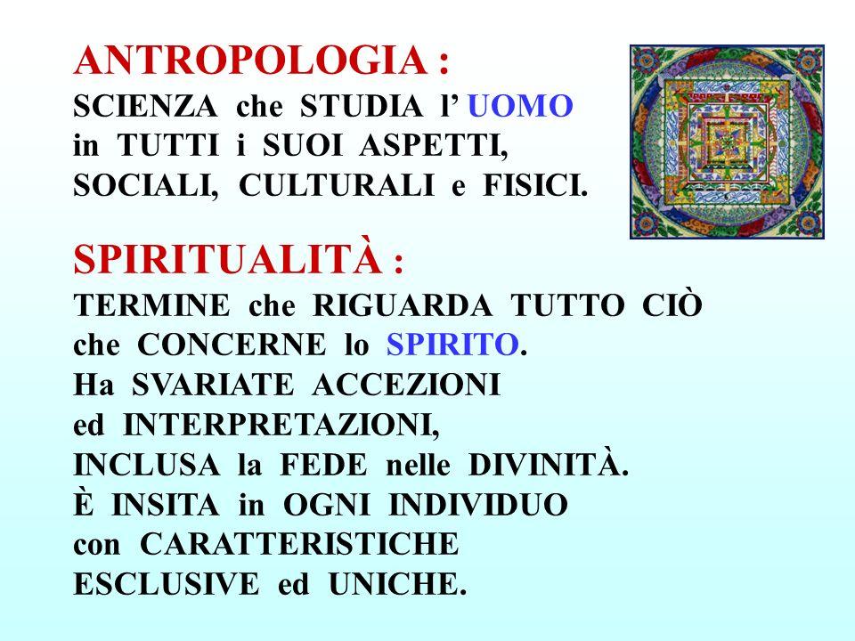 ANTROPOLOGIA : SCIENZA che STUDIA l UOMO in TUTTI i SUOI ASPETTI, SOCIALI, CULTURALI e FISICI. SPIRITUALITÀ : TERMINE che RIGUARDA TUTTO CIÒ che CONCE