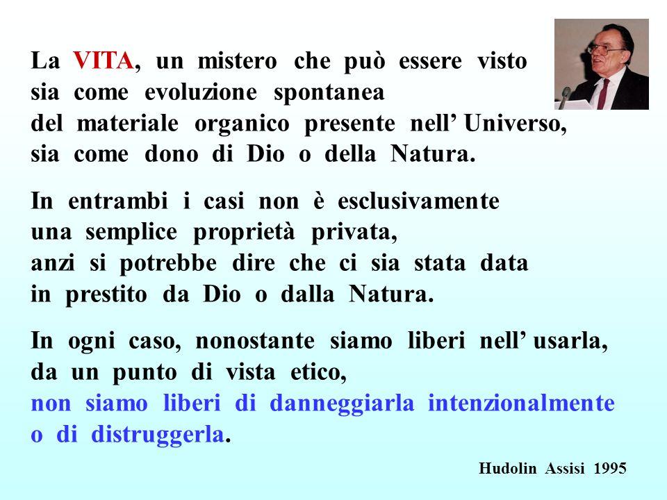 La VITA, un mistero che può essere visto sia come evoluzione spontanea del materiale organico presente nell Universo, sia come dono di Dio o della Nat