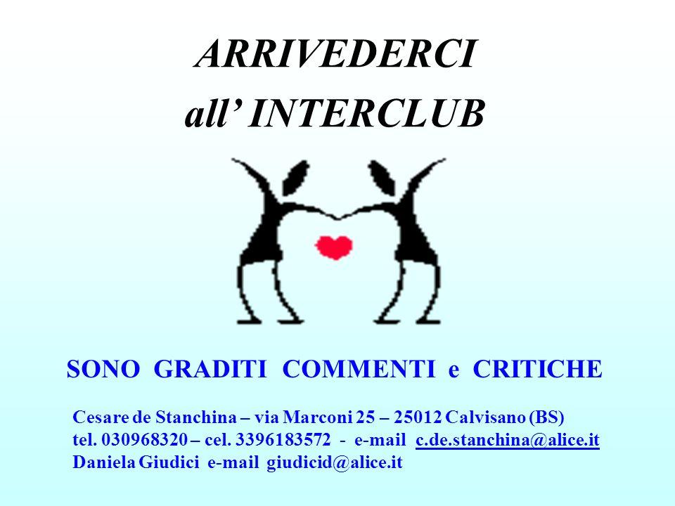 ARRIVEDERCI all INTERCLUB SONO GRADITI COMMENTI e CRITICHE Cesare de Stanchina – via Marconi 25 – 25012 Calvisano (BS) tel. 030968320 – cel. 339618357