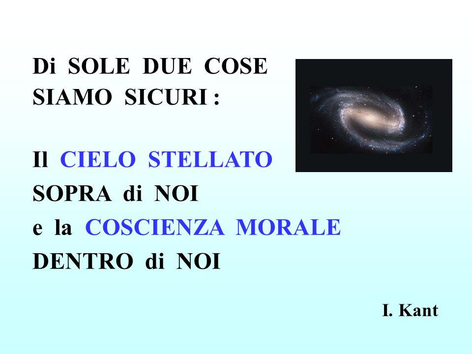 Di SOLE DUE COSE SIAMO SICURI : Il CIELO STELLATO SOPRA di NOI e la COSCIENZA MORALE DENTRO di NOI I. Kant
